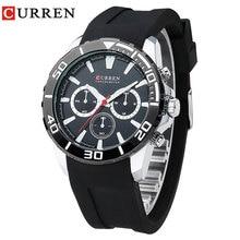 CURREN 2017 moda relógios homens analógica militar Silicone esporte relógio de quartzo relógios de pulso masculino relogio masculino 8185