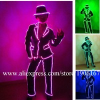 Wholesale 3 Sets LED Luminous Nightclub Ballroom Costume Led MJ Style Suit Women Waiters Clothes Stage Performance Dance Wear