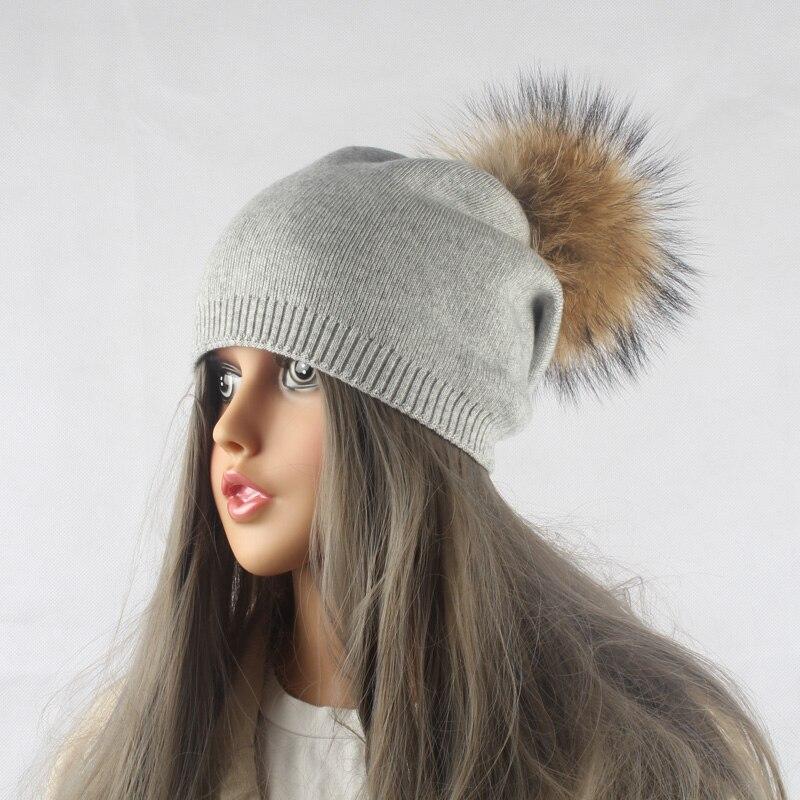 Musim dingin Musim Gugur Pom Pom Beanies Topi Wanita Rajutan Wol - Aksesori pakaian - Foto 6