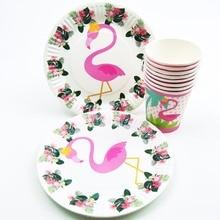 Hawaiian 40Pcs Flamingo Patry Decoration Paper Napkin/plate/cup Birthday Party Cute Kids Tableware Set
