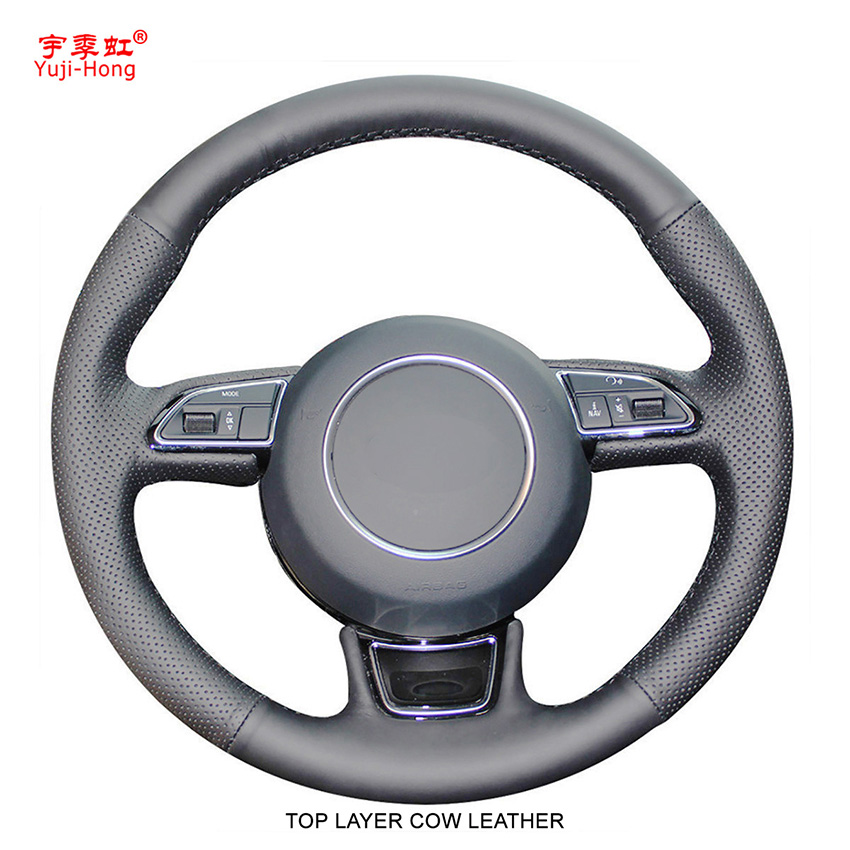 Yuji Hong Top Layer Genuine Cow Leather Car Steering Wheel Covers Case for AUDI A1 A3