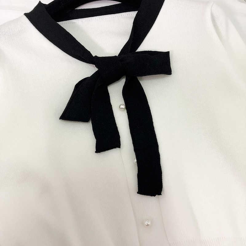 Вязаный свитер для женщин и кардиганы 2019 Новинка осени тонкий твердый лук вырезом пикантные короткие леди кардиган верхняя одежда пальто Топы