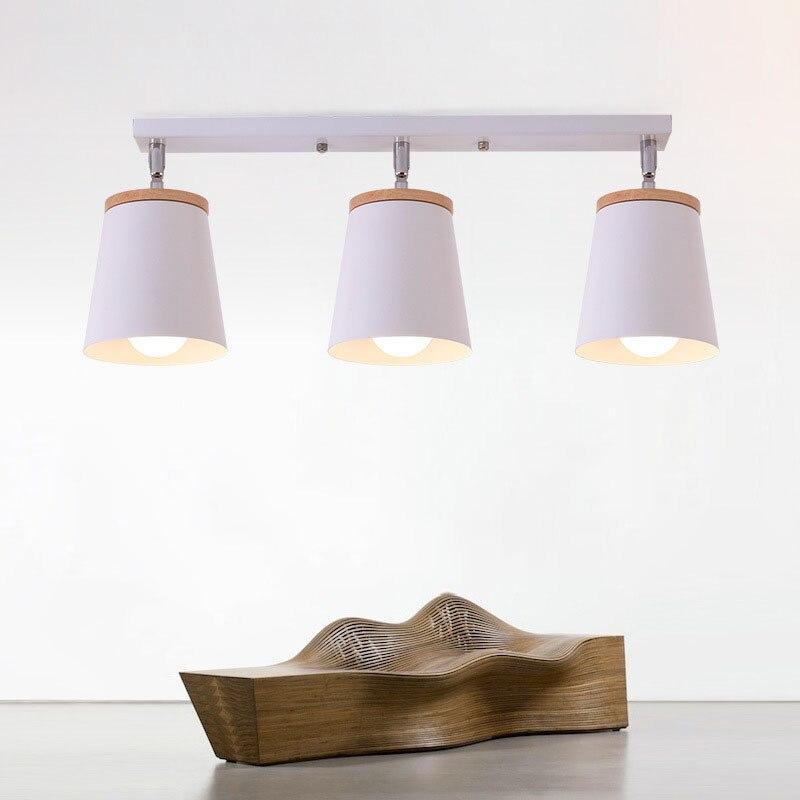 Modern E27 Rotatable LED Ceiling Lamp Wood Iron Ceiling Spot Light Black White Indoor Ceiling Wall Mounted Light for Aisle