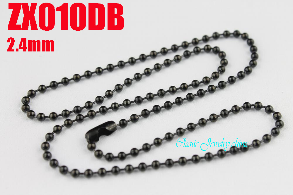 black color stainless steel ball chain 2.4mm beads necklace with waist buckle chains fashion Jewelry parts 20pcs ZX010DB