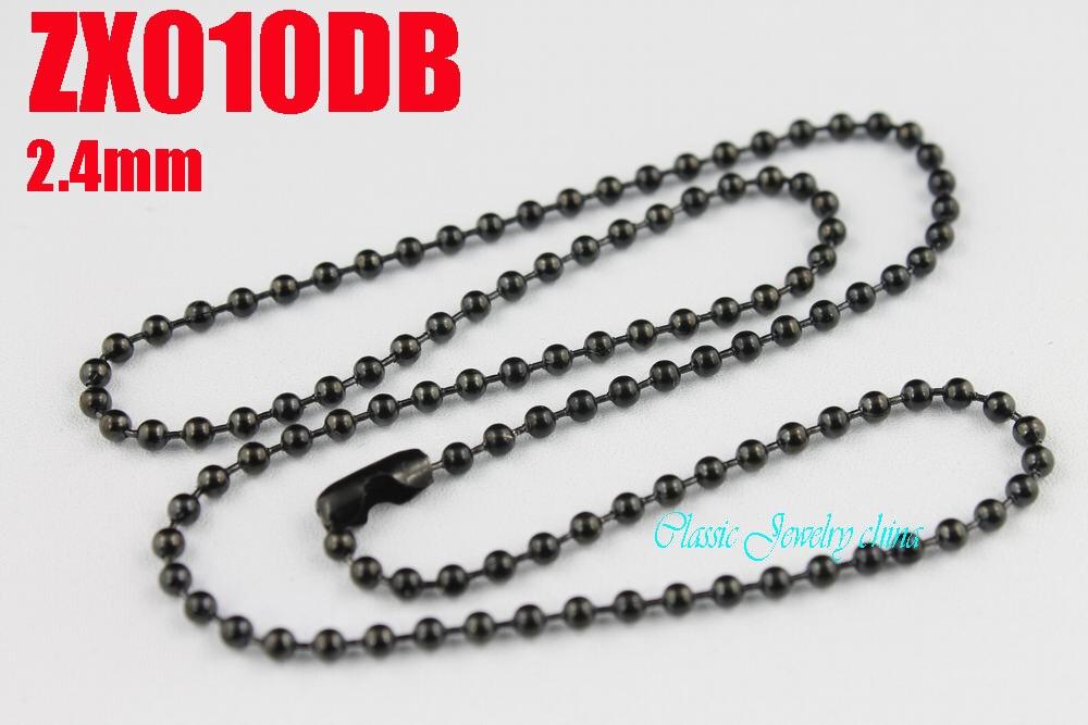 czarny kolor kulki ze stali nierdzewnej 2,4mm koraliki naszyjnik z łańcuszkami klamry talii moda Biżuteria części 20szt ZX010DB