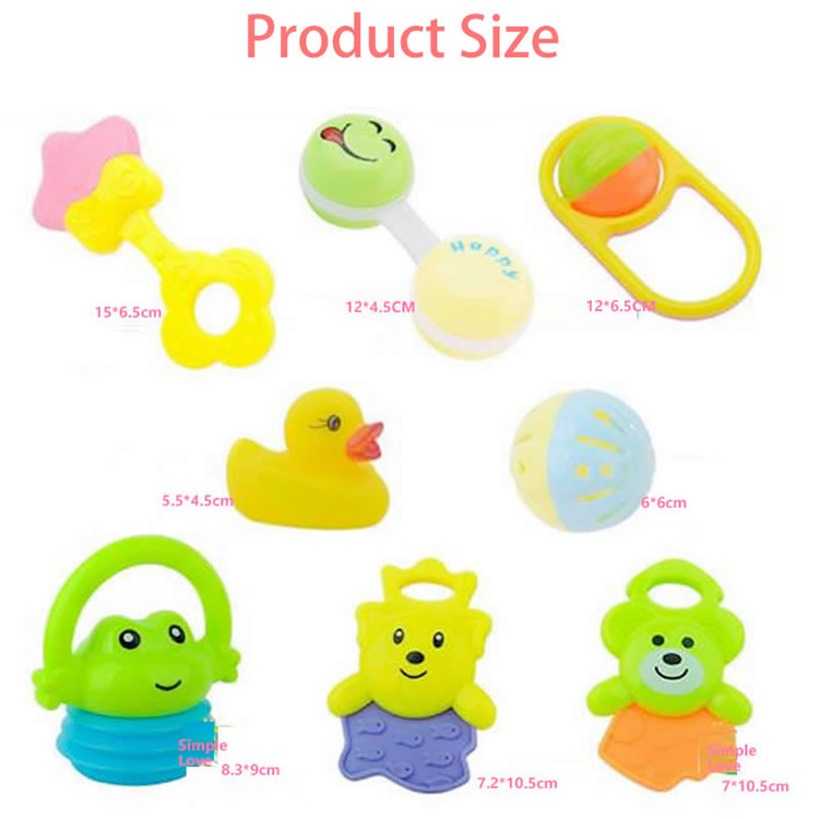 8pcs/set Baby Teether Cute Cartoon Rattles Teethers Infant Training Tooth Bell Toys  Massager Baby Toys 0-12 months