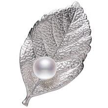 FEIGE Nueva Llegada 10-11mm Blanco Natural de Agua Dulce Broche de Perlas Para Las Mujeres Estilo De Moda Hoja de La Perla Pin Fino joyería