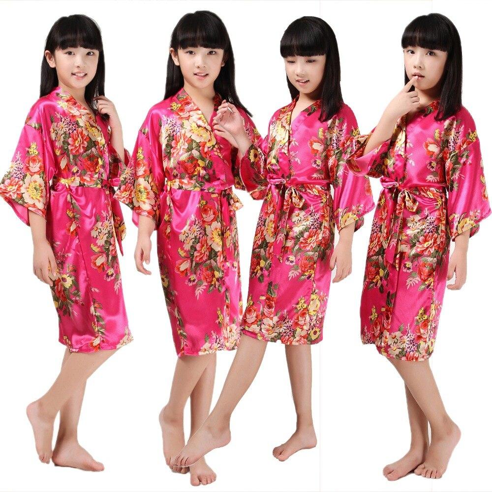 Ciruela de Robe gown flor Niñas traje para boda niños de seda casual ...