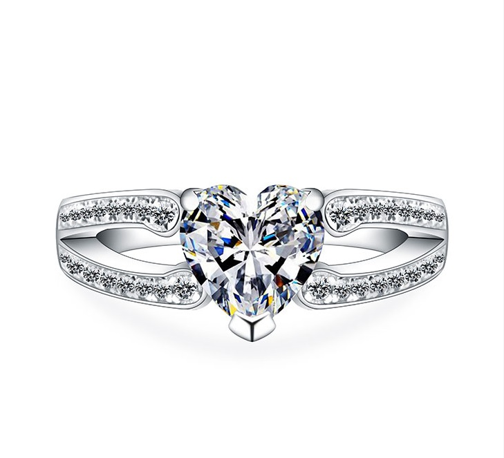 f6e39c803 Lovely 1Ct Heart Shape Synthetic Diamonds Ring Solid 925 Sterling Silver  Ring White Gold Color Jewelry
