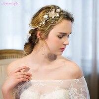 Delicate Gold Pearl Jewelry Headband Wedding Hair Vine Handmade Floral Bridal Headpiece Accessories