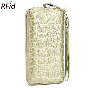 Image 3 - COMFORSKIN Billetera Mujer RFID הגנת עור פרה עור 100% מובטח נשים עור ארנק חם מותג אבן סגנון ארנק 2018