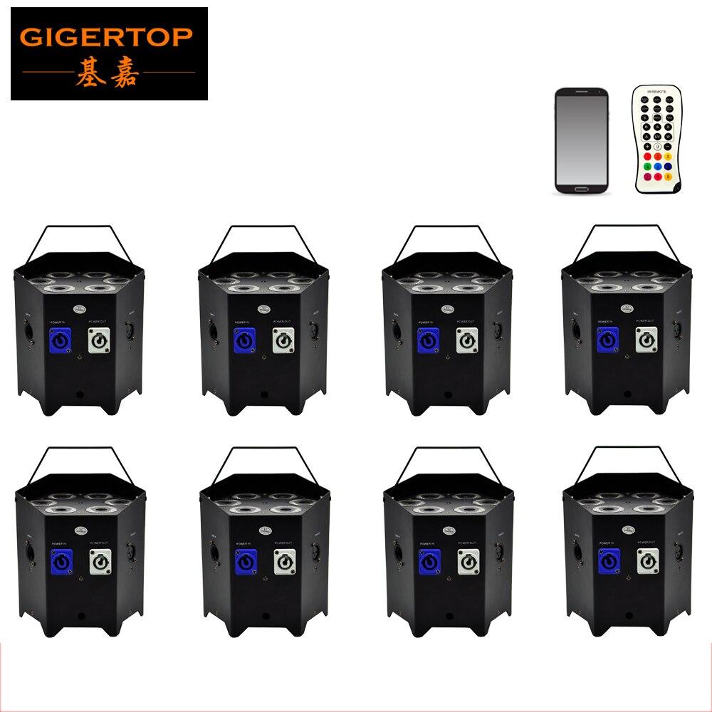 Freeshipping 8x vysoce výkonný 6v1 barevný svoboda Par 6x6W RGBWA UV bezdrátový DMX ovládání mobilní telefon aplikace integrovaný D-Fi 2,4 GHz
