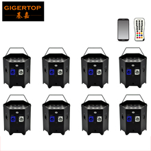 Freeshipping 8x High Power 6in1 Color Freedom Par 6x6W RGBWA UV Wireless DMX Control Mobile Phone App Integrated D-Fi 2.4 GHz