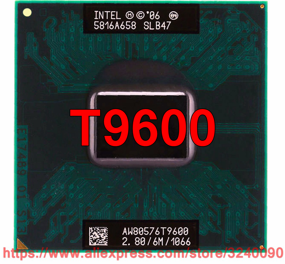 Original Lntel Core 2 Duo T9600 CPU (6M Cache, 2.80 GHz, 1066 MHz FSB, Dual-Core) For GM45 PM45 Laptop Processor Free Shipping