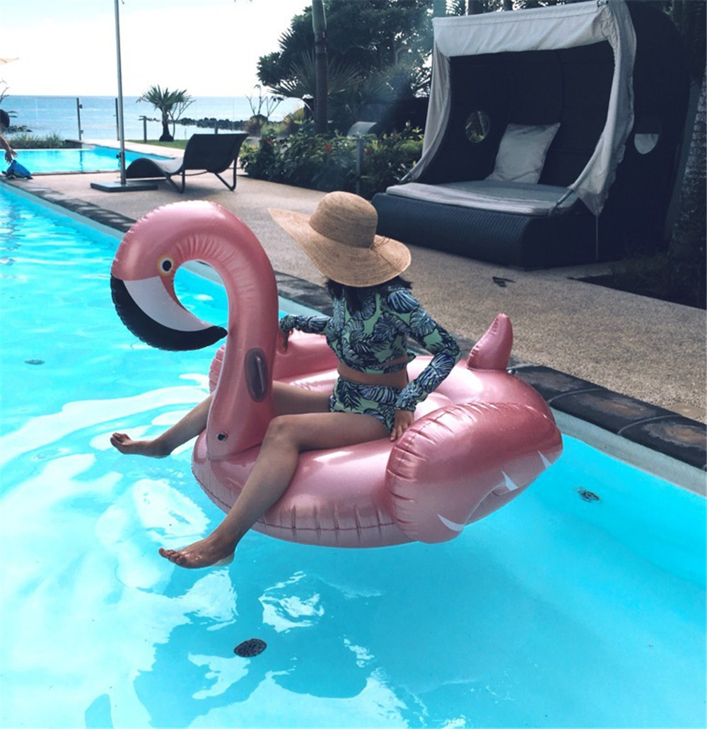 cosplay 150CM Rose Gold Inflatable Flamingo Pool Float Flamingo Boia Inflatable Swimming Ring Pool Swim Float Pool Party adult