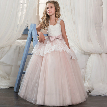 pink long party dresses for girls 2-12 years tulle ball gowns for kids with bow lace tulle flower girls dresses for wedding 2018