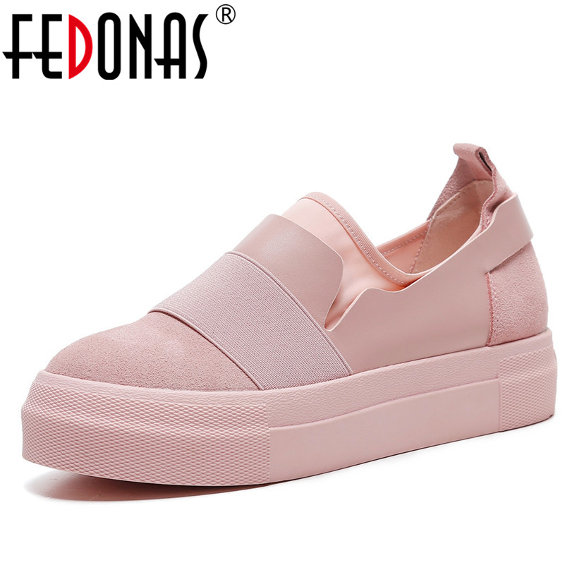 FEDONAS New 2018 New Fashion Women Flats Shoes Genuine Leather Spring Autumn Women Black Pink Casual Shoes Flat Heels Sneaker fedonas retro black brown women flats heels shoes round toe buckles slip on new spring casual shoes women genuine leather shoes