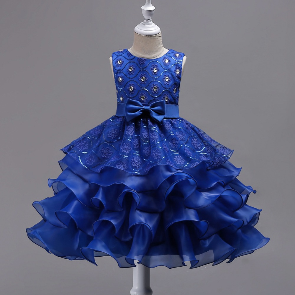 Summer O-Neck Sleeveless Ruffle Princess Dress Solid Cute Bow Ball Gown Girl 's Dresses L62 hot sale 1000g dynamic amazing diy educational toys no mess indoor magic play sand children toys mars space sand