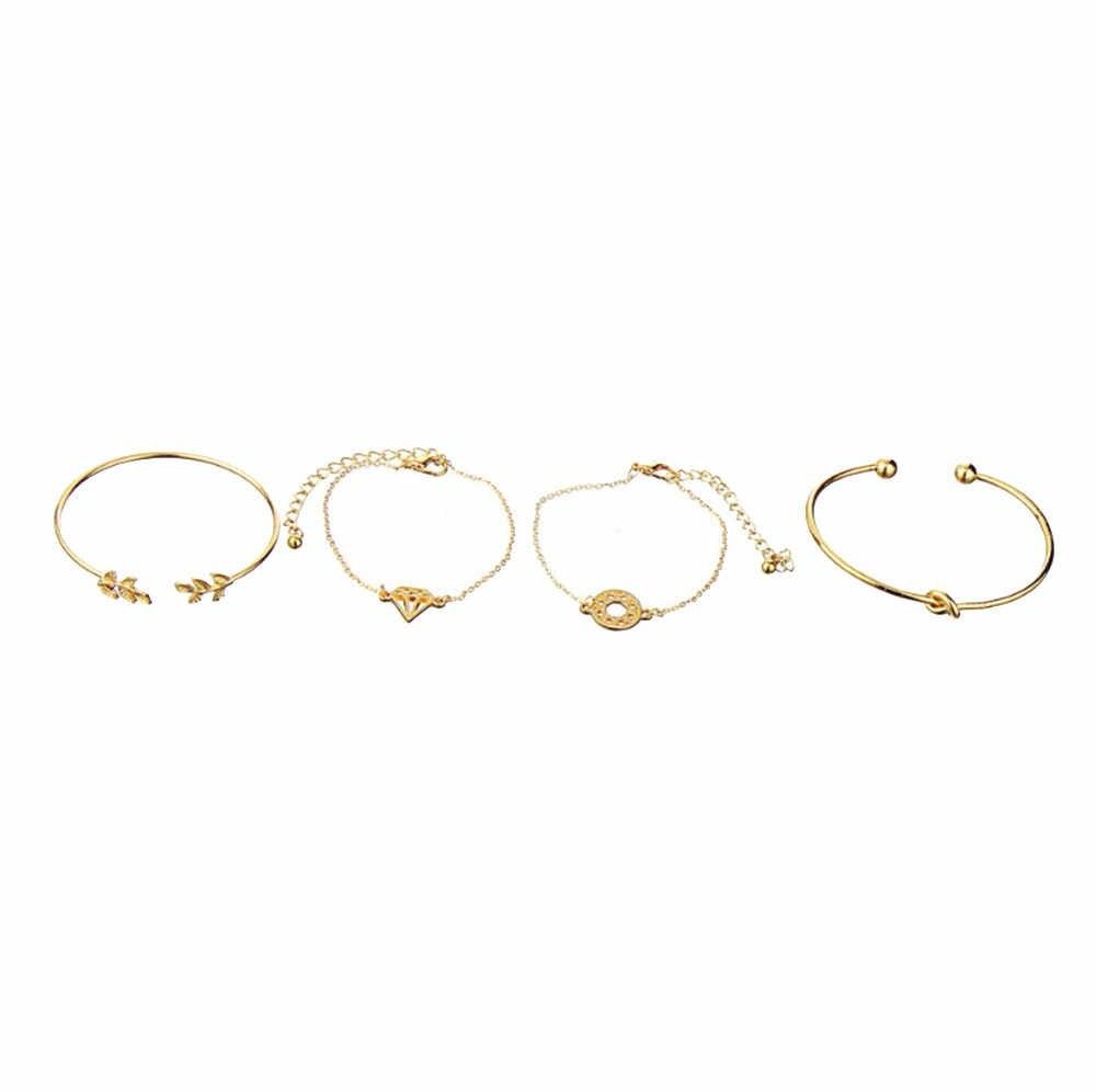 Bransoletka kobiety 4 sztuk elegancka damska róża kryształowa kwiat bransoletka bransoletka mankietowa biżuteria złoty zestaw Pulseras Mujer Armband 2020 nowy