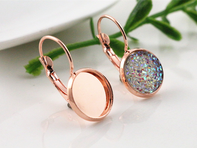 12mm 10pcs Dark Rose Gold Plated French Lever Back Earrings Blank/Base,Fit 12mm Glass Cabochons,Buttons;Earring Bezels (L3-07)