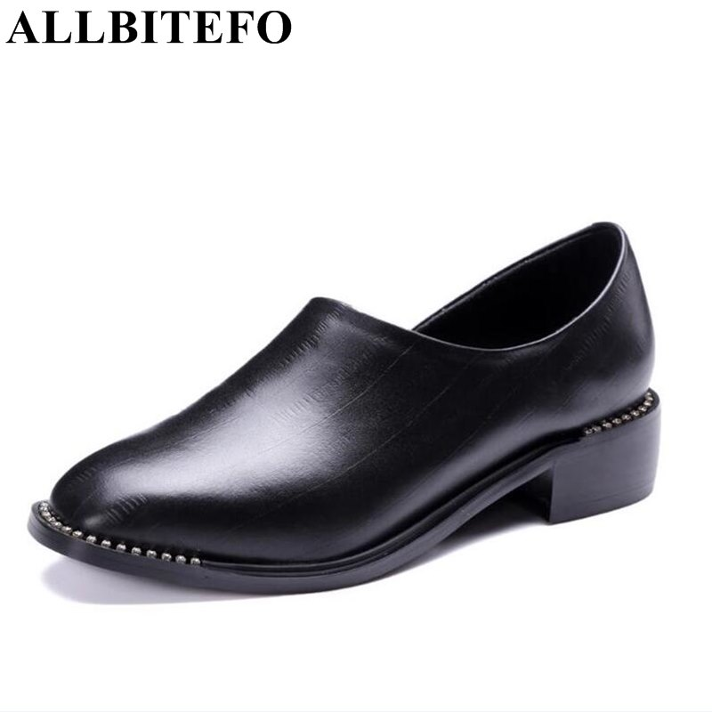 ALLBITEFO thick heel genuine leather square toe women pumps fashion brand low-heeled spring ladies shoes sapatos femininos цена 2017