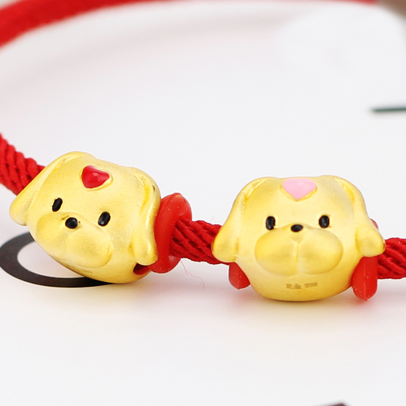 цена на New Arrival 999 24K Yellow Gold Bracelet 3D 999 Gold Dog Bracelet