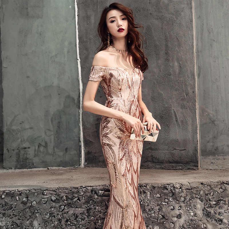 שמלה לנשף אלגנטי זהב פאייטים בת ים 2019 אורך קיר ארוך שמלות נשים המפלגה לילה בלינג בתוספת גודל Vestidos דה גאלה e438