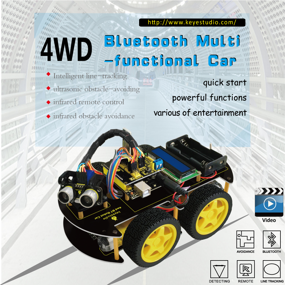 4wd bluetooth diy robot car smart motor chassis tracking. Black Bedroom Furniture Sets. Home Design Ideas