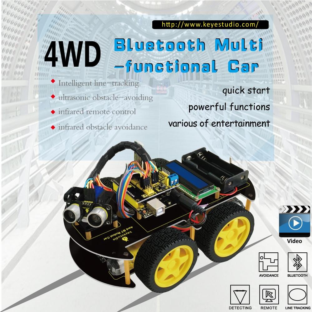 Keyestudio 4WD Bluetooth multifuncional DiY Smart car kit + manual del usuario + PDF + video + destornillador para arduino robot coche arranque