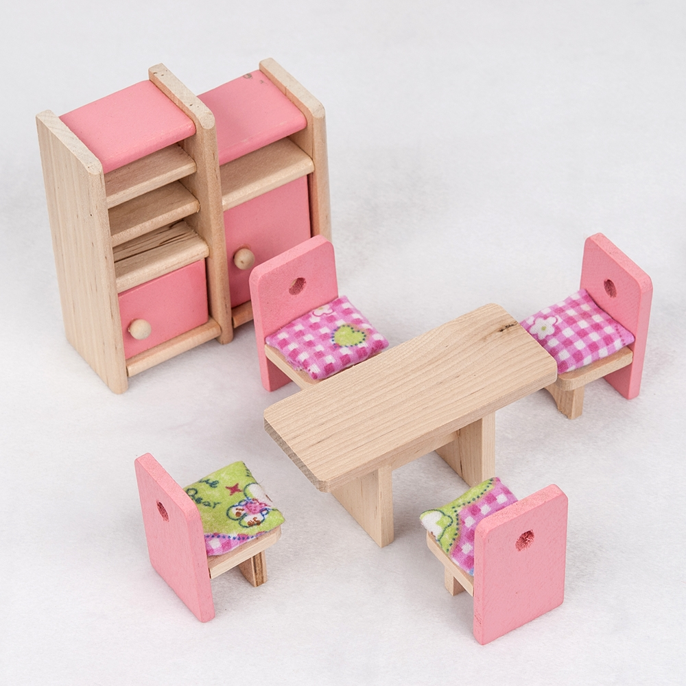 brand baby wooden doll bathroom furniture kitchen dolls house miniature for kids child play toy brand baby wooden doll house