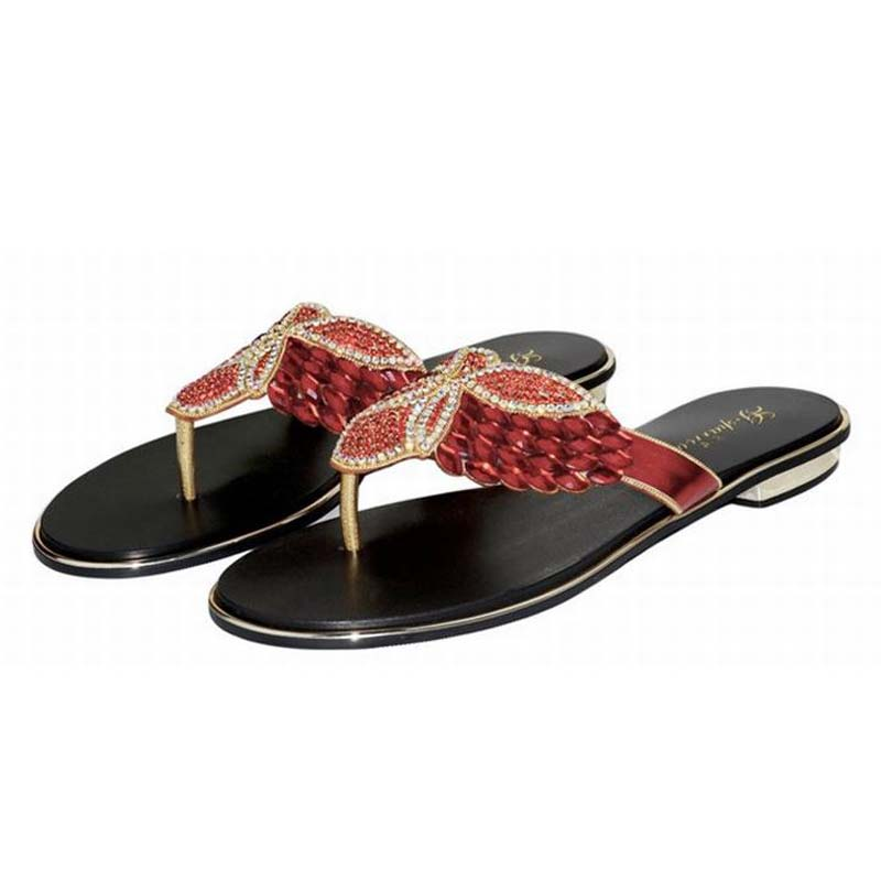 plus size 34-44 hot 2018 new summer fashion rhinestone flip flops women flat sandals crystal diamond shoes ladies beach slippers covoyyar 2018 fringe women sandals vintage tassel lady flip flops summer back zip flat women shoes plus size 40 wss765