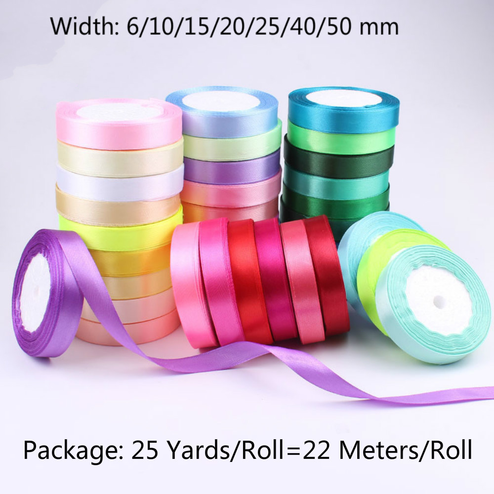 6/10/15/20/25/40/50mm Silk Ribbon Wedding Party Decoration Invitation Card Gift Wrapping Scrapbooking Supplies Riband 25 Yards Discounts Price Apparel Sewing & Fabric