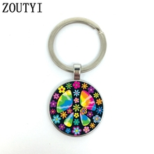 New / hot, glamour flower peace sign, men and women keychain quality car pendant, convex glass keychain....