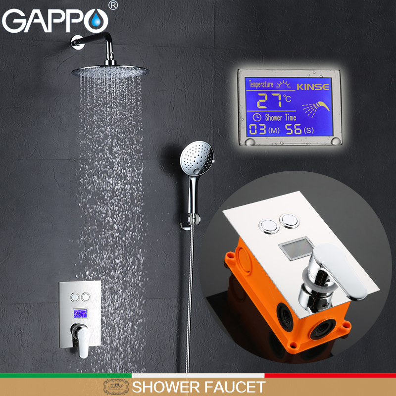 GAPPO bathroom shower faucet Chrome LCD in-wall Digital Display shower tap mixer rainfall bathtub faucet tap waterfall gappo shower faucet waterfall shower mixer tap rainfall shower faucet shower head in wall bathroom faucet mixer