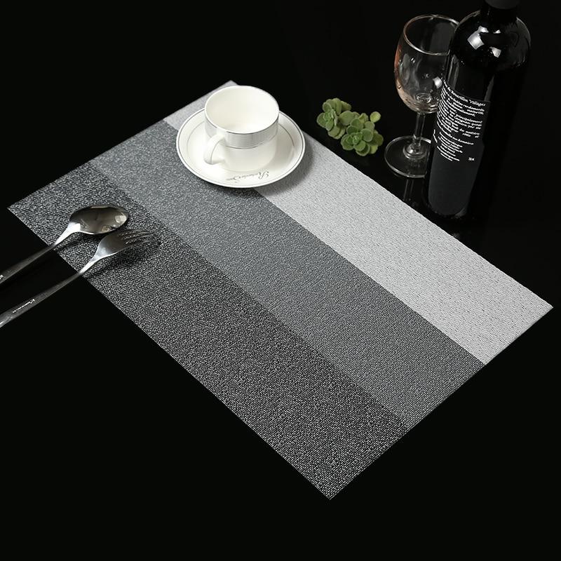 4 gab / partija Kontrastkrāsas Placemat modes pvc ēdamgalds mat disku spilventiņi trauku paliktņi paliktņi galda auduma slīdēšanas izturīgs spilventiņš