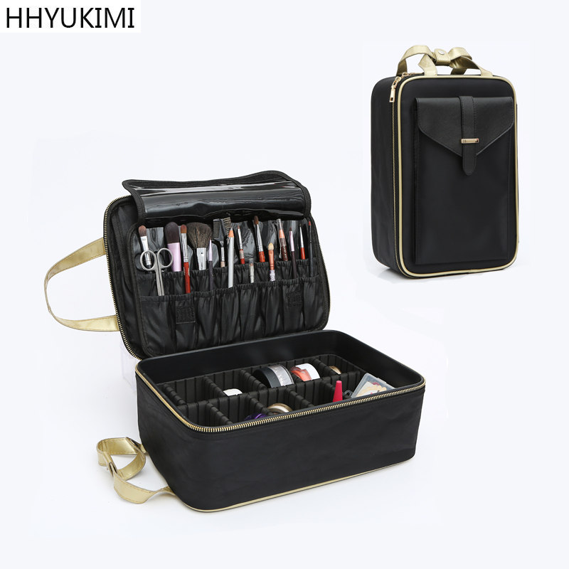 HHYUKIMI Three-layer Make-up Bag case Travel Cosmetics Organizer Lnternal Adjustable Cosmetic Box Portable Suitcase Makeup Case new arrive hot 2pc set portable jewelry box make up organizer travel makeup cosmetic organizer container suitcase cosmetic case
