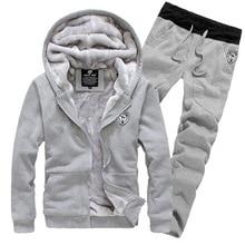 Zogaa 2019 New Fashion Autumn Winter Mens Clothing Thick Korean Version Hooded + Pants Set Tide Jacket