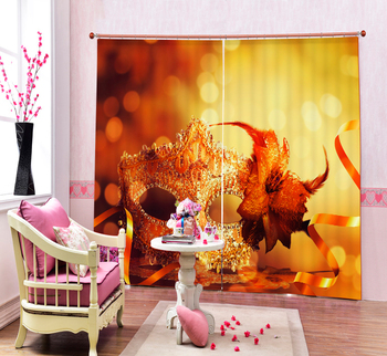 luxury 3D Blackout Curtains For Halloween Mask Decorative Living room Bedding room  Drapes Cotinas para sala