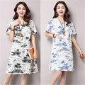 2016 национальная летний ветер хлопок рубашка Крупных Женщин Размер
