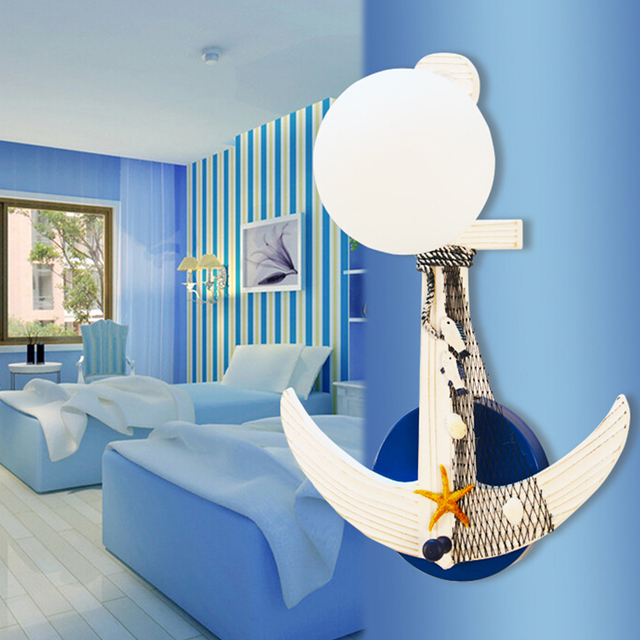 Child room mediterranean style childrens wall light e27 lamp ac child room mediterranean style childrens wall light e27 lamp ac 110v 220v indoor lighting wood aloadofball Image collections