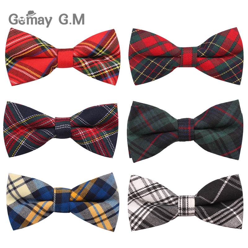 New Men Fashion Classic Plaid Bowtie Neckwear Adjustable Mens Bow Tie Polyester For Wedding England Style Ties