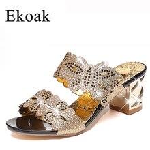 Ekoak 2016 Neue mode strass ausschnitte frauen sandalen Platz heel Partei sommer schuhe frau high heel sandalen mit schmetterling