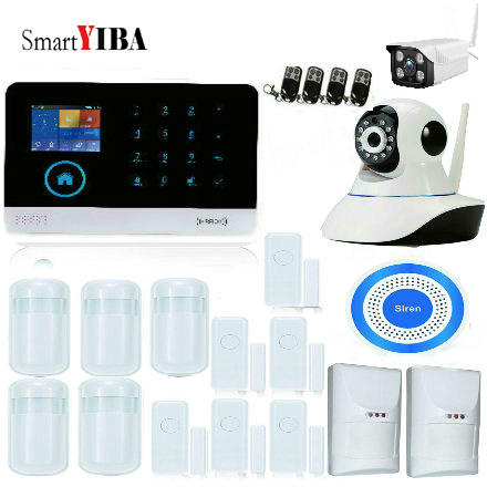 SmartYIBA Wireless WIFI GSM Home Intruder Security System Alarm Wireless Siren Outdoor IP Camera Pet Friendly Immune Detector yobang security 2 4g wifi gsm gprs sms wireless home security intruder alarm system wifi ip camera smoke detector
