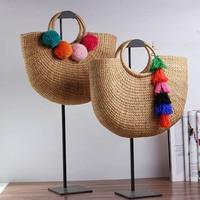 LIXUN Tassel Hairball Handmade Cotton Beach Bag Weaving Ring Wood Top handle Handbags Ladies Straw Wrapped Bag Moon Shaped Bags