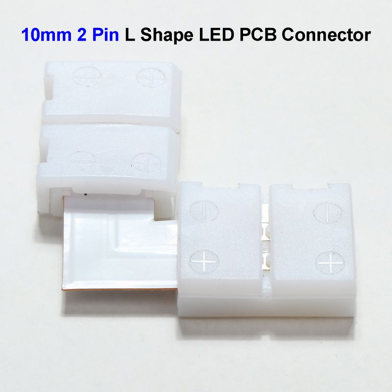 10mm 2 Pin L Shape LED Strip PCB Connector Adapter For SMD 5050 5630 Single Color LED Strip No Soldering рюкзак темно синий tommy hilfiger ут 00013143