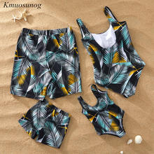 New Family Look Matching Swimsuit 2019 Leaf Print Bikini Set Mother Daughter Swimwear Swimming Trunks For Kids Men Shorts C0352