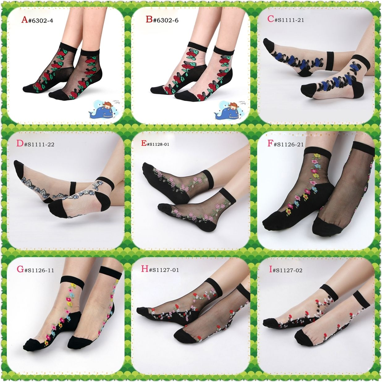 2019 Newest Women Lace   Socks   Crystal Glass Silk Short Thin Transparent Roses Flower FloralSocks Dropshipping