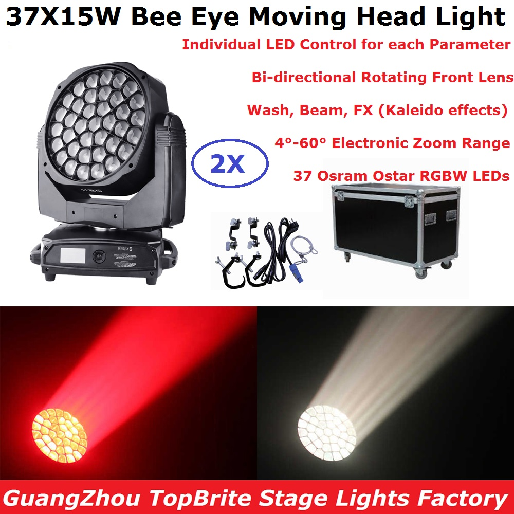 Newest Bee Eye Moving Head Light 37X15W RGBW Professional Stage Lights 4-60 Degree Electronic Zoom DJ DMX Beam Wash FX Effect стоимость