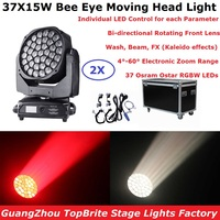 Newest Bee Eye Moving Head Light 37X15W RGBW Professional Stage Lights 4 60 Degree Electronic Zoom DJ DMX Beam Wash FX Effect