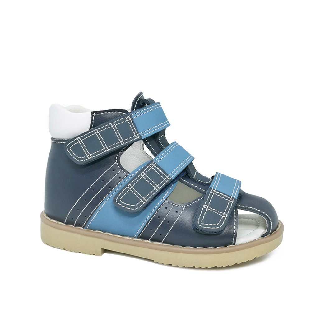 Ortoluckland Boys Genuine leather Shoes Orthopedic shoes For Children Navy Blue Kids closed Toe Sandals With Arch Support Sole
